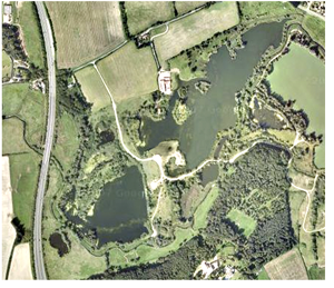 Satellite view of Bawburgh lakes