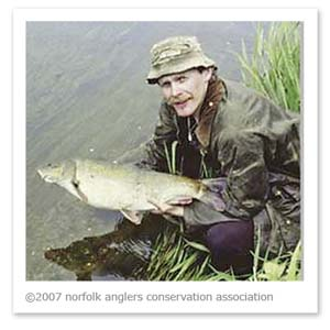 Steve Harper with one of the original Costessey barbel